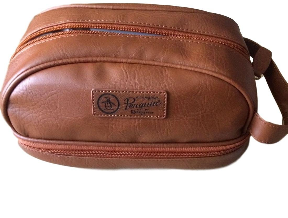 PENGUIN Mens Light Brown Faux Leather Toiletry Travel Kit Case Bag