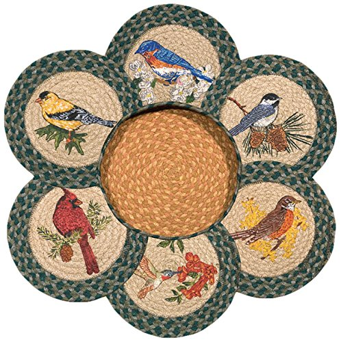 Earth Rugs 56-365SB Song Birds Round Basket and 6-Trivets, - Songs Sb