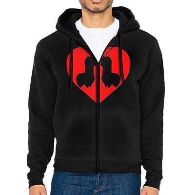 Men Long Sleeve Raglan Hoodies Heart Alpaca Valentine's Day Lightweight Zip Up Sweatshirts