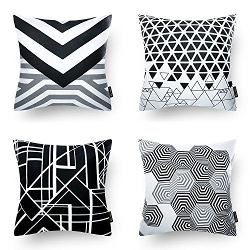 Phantoscope Set of 4 Black Geometric 100% Cotton Throw Pillow Case Cushion Cover 18