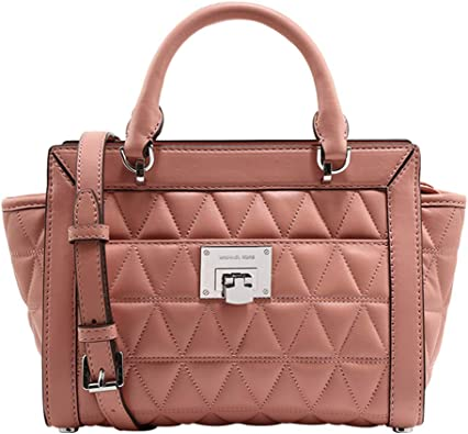 Michael Kors Vivianne Small Top Zip Messenger Quilted Leather Handbag in Peach