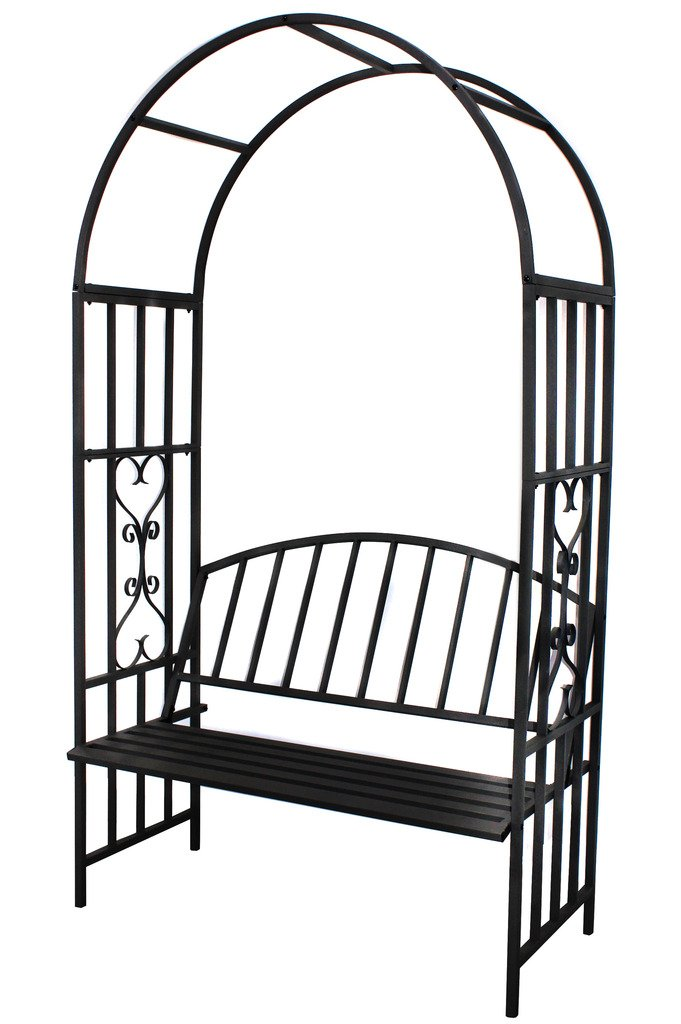 1.Go Steel Garden Arch with Seat for 2 People, 6'7'' High x 3'7'' Wide, Garden Arbor for Various Climbing Plant, Outdoor Garden Lawn Backyard