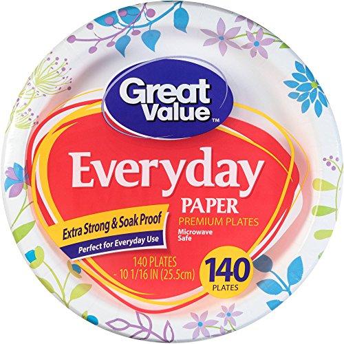 Great Value Everyday Premium Paper Plates, 10 1/16, 140 Count