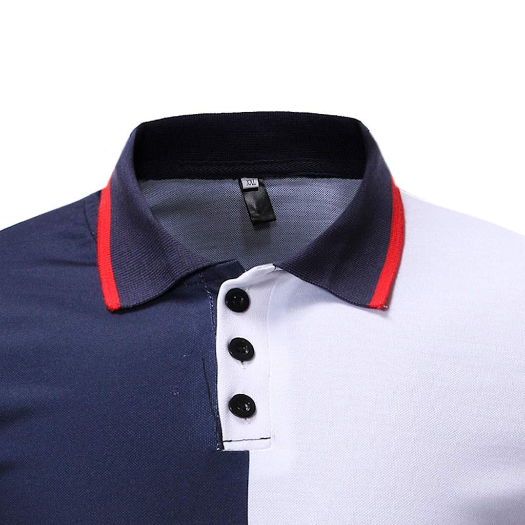 OSTYLE Casual Shirts for Men,Slim Fit Stand Collar Pctchwork Button Short Sleeve Top