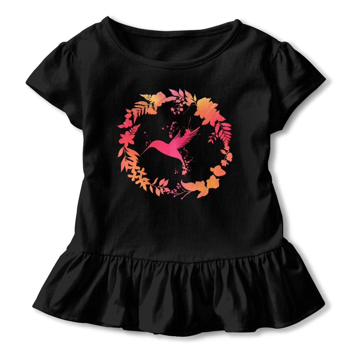 Hummingbird Floral Wreath Toddler Baby Girls Short Sleeve Ruffle T-Shirt