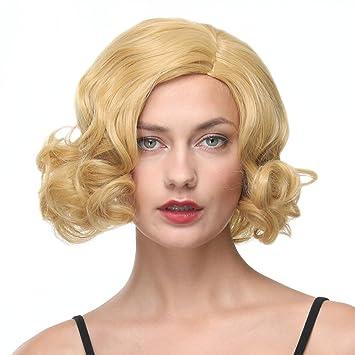 Amazon Com Gotta Short Bob Wigs For White Women Golden Blonde Wavy