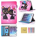 Dluggs New iPad 2017 Case / iPad Air 2 Case / iPad Air Case-Slim Fit PU Leather Folio Flip Smart Stand Case with Auto Sleep/Wake Function for Apple iPad 9.7 2017 Model/ iPad Air 1 2-Couple Cat