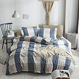 HYPREST 100% Washed Cotton Duvet Cover Twin - Blue Buffalo Plaid Duvet Cover Set- Soft Comfortable Queen Cool Rustic Comforte