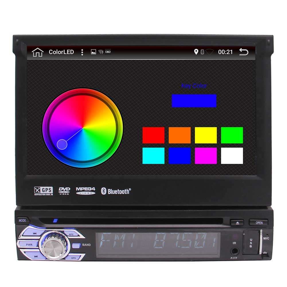 新開発のAndroid 6.0マシュマロカーDVDプレーヤーシングル1ディン7インチのHDタッチスクリーン取り外し可能なカーステレオは、ナビゲーションのヘッドユニットのBluetooth AM / FMラジオのWiFi 1080Pビデオオーディオ出力をGPS B075FRTQ39