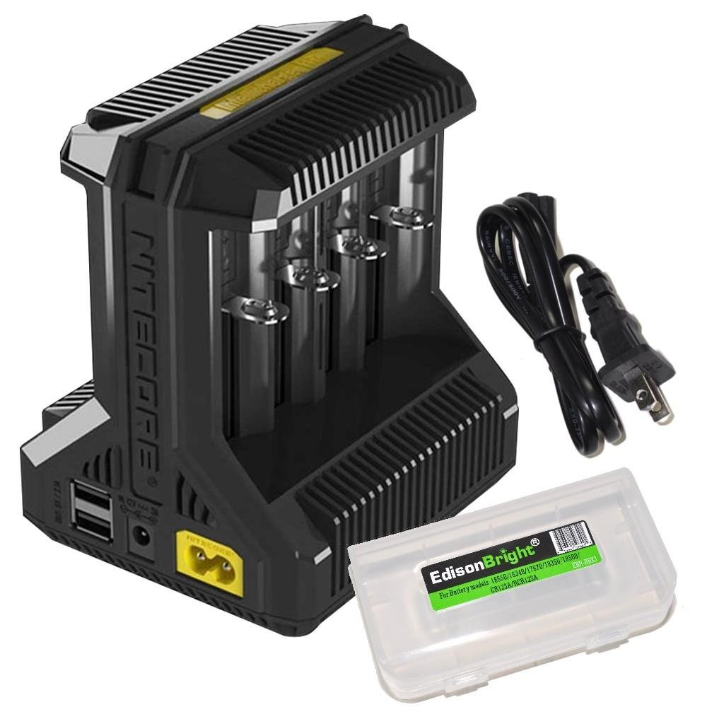 NITECORE i8 Eight Bays Smart Battery Charger for Li-ion/IMR/Ni-MH/Ni-Cd 26650 22650 18650 18490 18350 16340 RCR123 14500 AA AAA AAAA C D USB with EdisonBright BBX3 Battery Carry case by EdisonBright (Image #1)