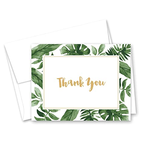 amazon com 50 cnt watercolor tropics thank you cards gold on white
