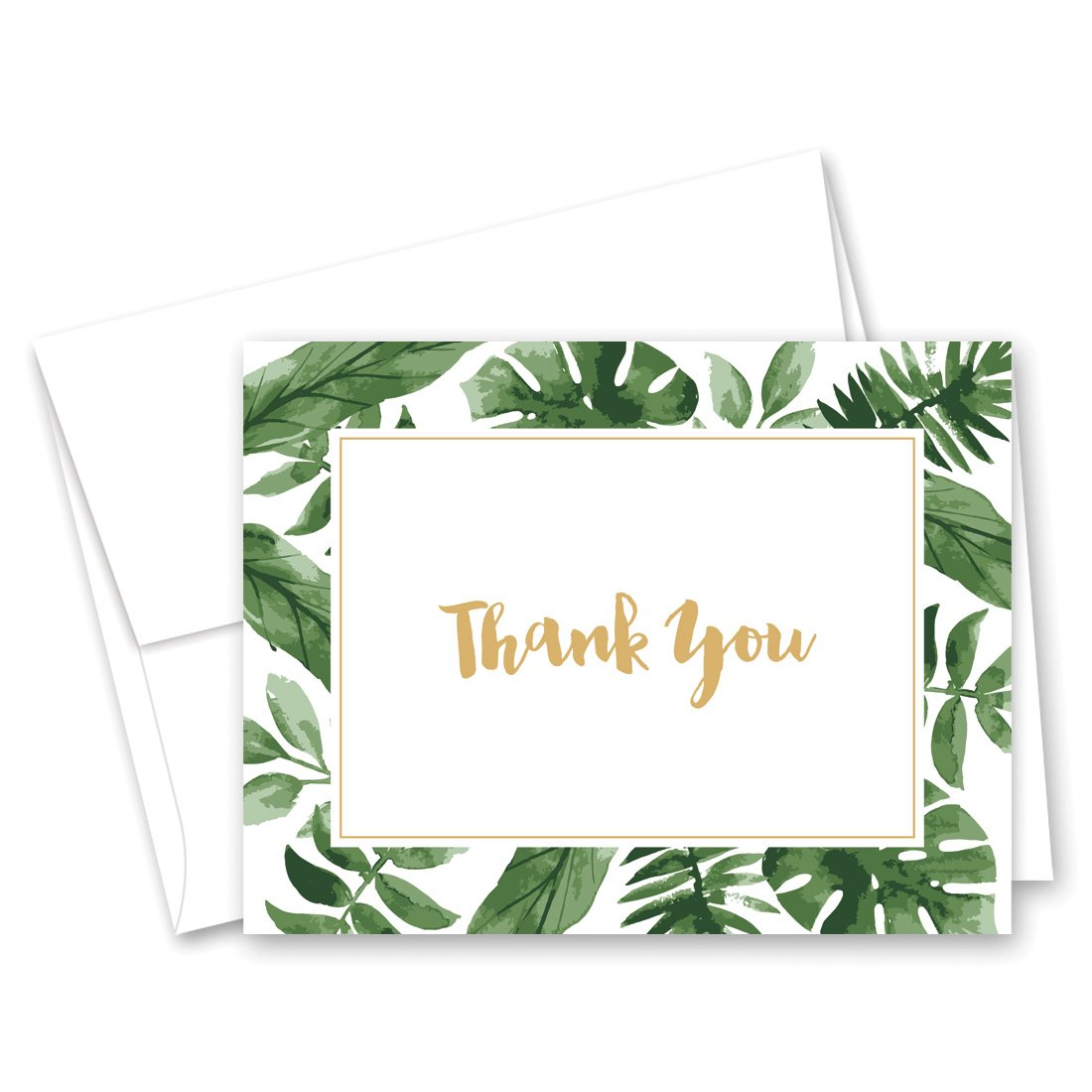 50 cnt Watercolor Tropics Thank You Cards (Gold on White)