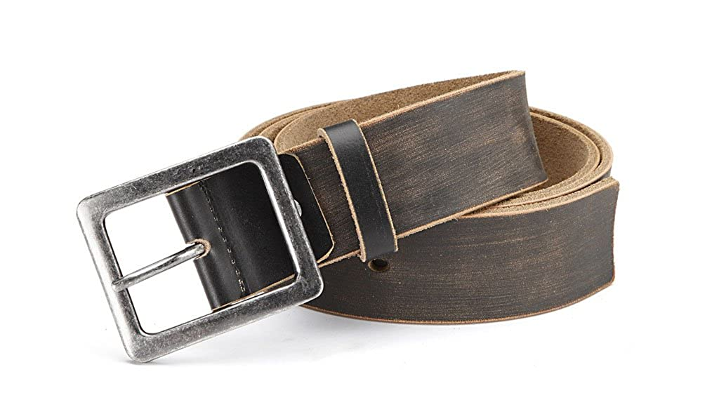 Mens jeans Belt made of buffalo leather with double buckle in 4.5 cm width Individually adjustable