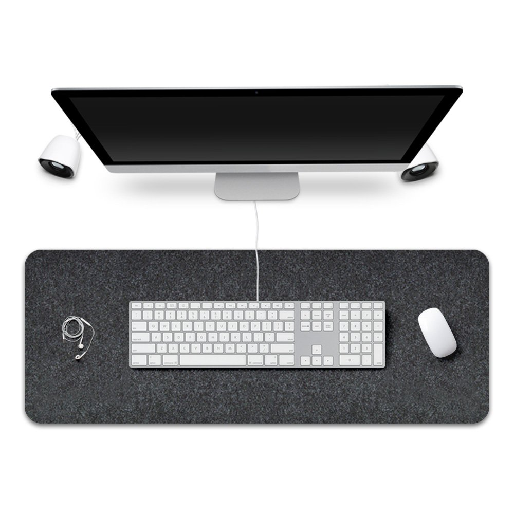 FireBee Extended Gaming Mouse Pad Desk Pad Protector Office Writing Mat Felt Base 0.12 Inch Thick (Dark Gray)