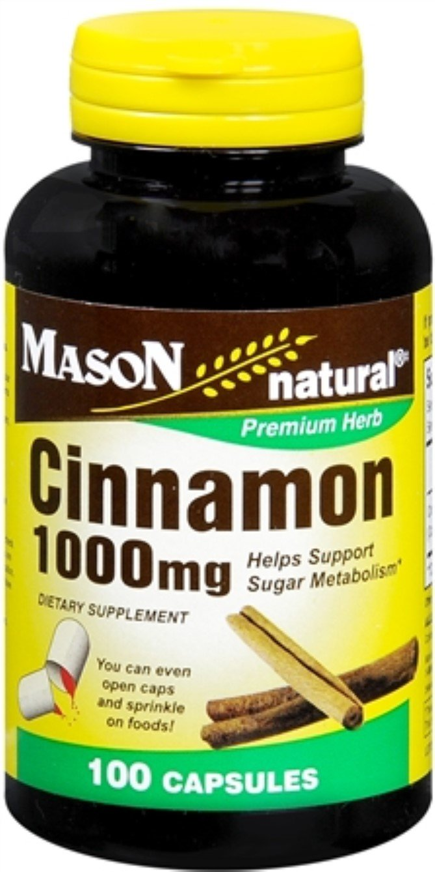 Mason Natural Cinnamon 1000 mg Capsules 100 Capsules (Pack of 12)