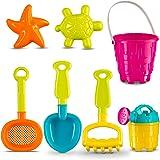 "Castle Sand Tools Beach Set 7 pcs with Animal Molds | 6"" Sand Castle Mold | Garden Tools -7 Pc Multicolor Creative Beach Play Set with Castle Bucket for Pools | Backyard | Sandbox | Playpen"