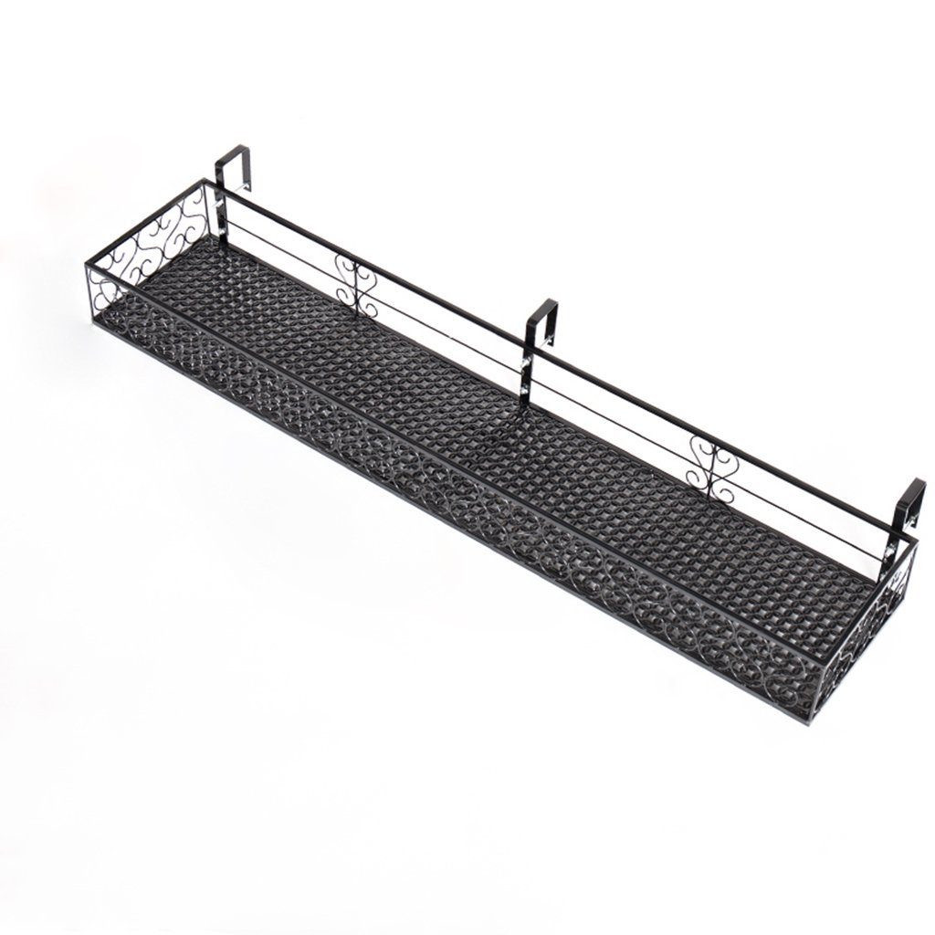 Balcony Flower Stand Hanging Wrought Iron Flower Stand Guardrail Pot Rack Window Sill Multi-meat Railing Super Load Bearing 30KG (Color : BLACK, Size : 120 * 20CM) wghhj