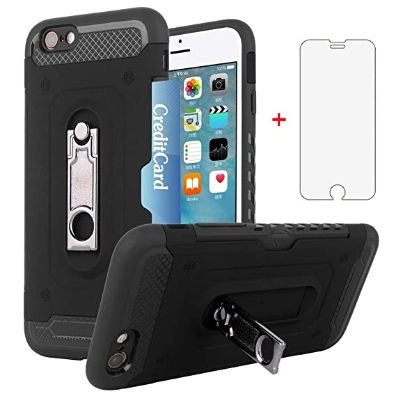 iPhone 6/6s Wallet i Phone Case with Tempered Glass Screen Protector Credit Card Holder