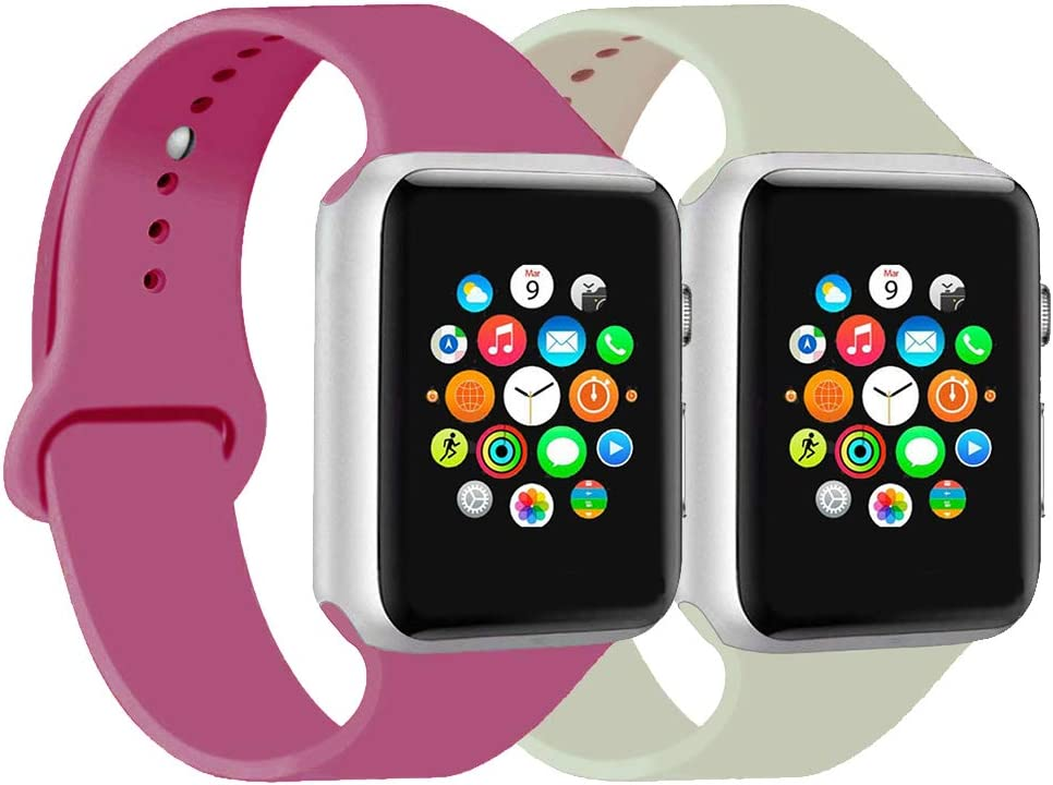 CoJerk Compatible for Apple watch Band 38mm 40mm 42mm 44mm,Replacement Band for iWatch Series 5/4/3/2/1 (Antique white+Dragon fruit, 38mm/40mm-sm)