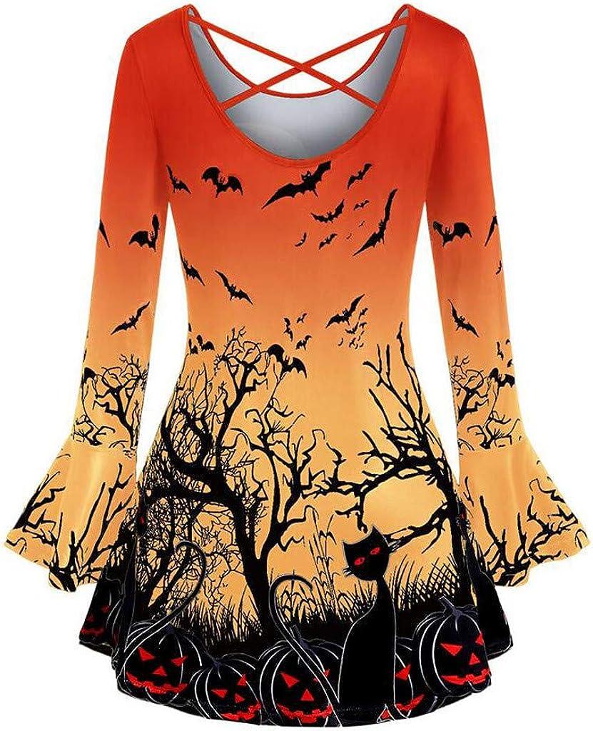 TiTCool Plus Size Halloween Shirts for Women O-Neck Pumpkin Cat Prints Flare Sleeves Tee Shirt Tops