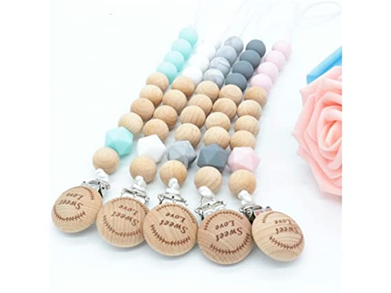 Amazon.com: Wetietir Essential Lovely Wooden Baby Teething Pacifier ...