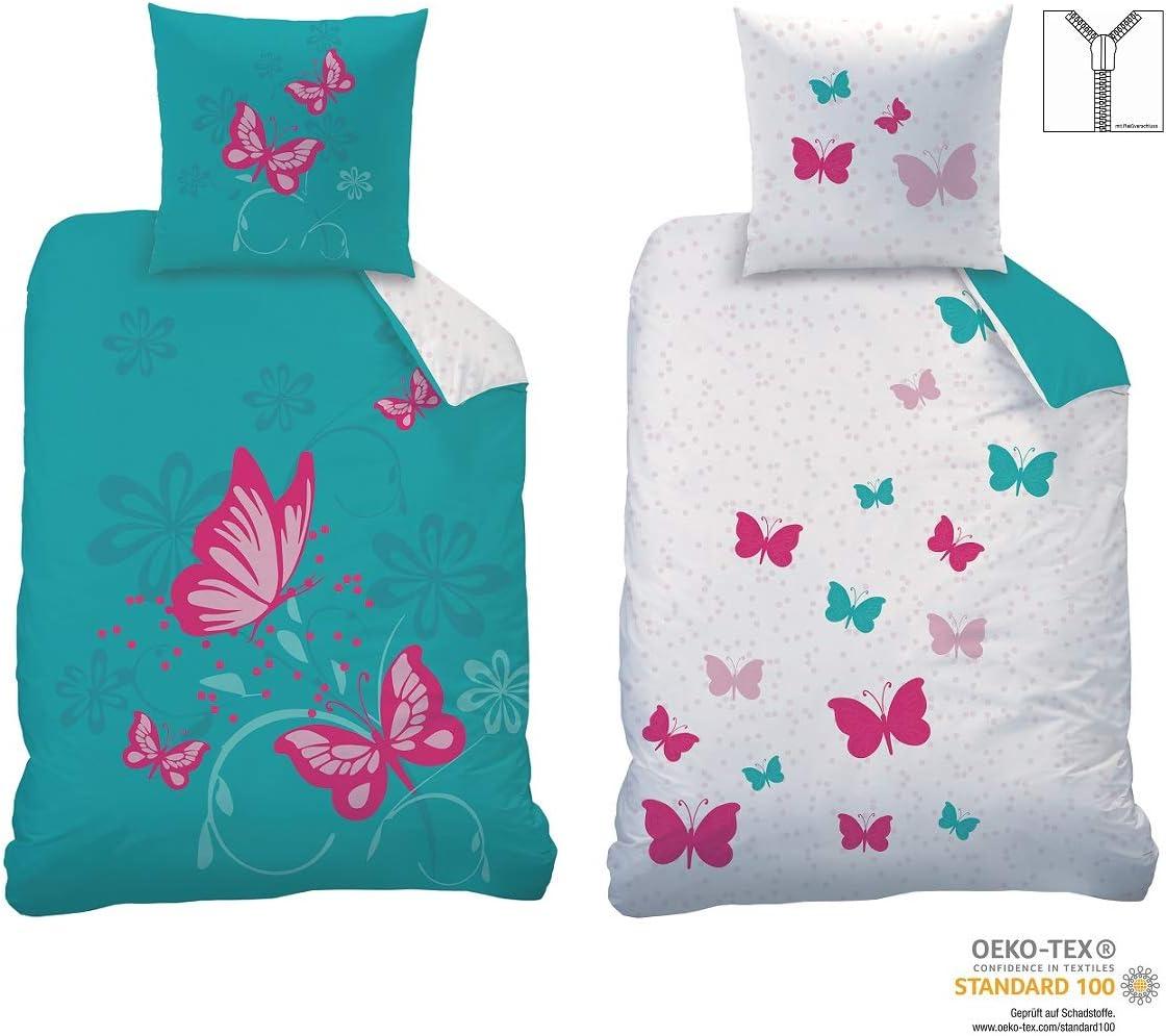 CTI - Juego de cama reversible (135 x 200 cm, 80 x 80 cm, 100% algodón, linón), diseño de mariposas, color turquesa y rosa