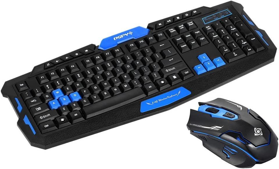 LJ2 Wireless Keyboard Gaming Keyboard Mouse Combo 19 Keys Anti-ghosting Adjustable DPI Mouse USB Receiver Adapter Mouse
