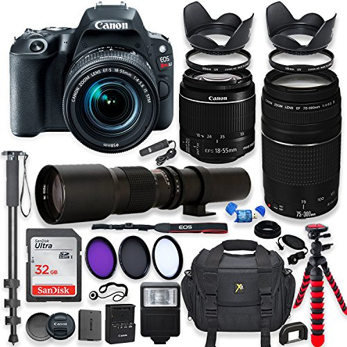 Cheap Canon EOS Rebel SL2 DSLR Camera with 18-55mm STM Lens Bundle + Canon EF 75-300mm f/4-5.6 III Lens and 500mm Preset Lens + 32GB Memory + Filters + Monopod + Spider Tripod + Professional Bundle
