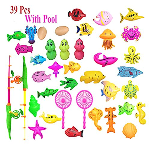 Thilo 40pcs with Inflatable pool Magnetic Fishing Toy Rod Net Set for Kids Child Model Play Fishing Games Outdoor Toys