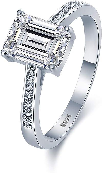 taille 7 Rhodium plaqué sur argent sterling 925 Véritable Diamant Promesse Bague