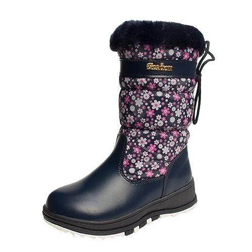 Evedaily - Bottes de Neige Fille Chaud Hiver Chaussures FourrureFille Femme Bottes d'hiver Snow Boots -Rose 2DQ8OQXGm