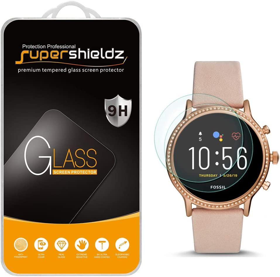2 Pack Supershieldz for Fossil Gen 5 Smartwatch Julianna HR Tempered Glass Screen Protector Bubble Free Anti Scratch