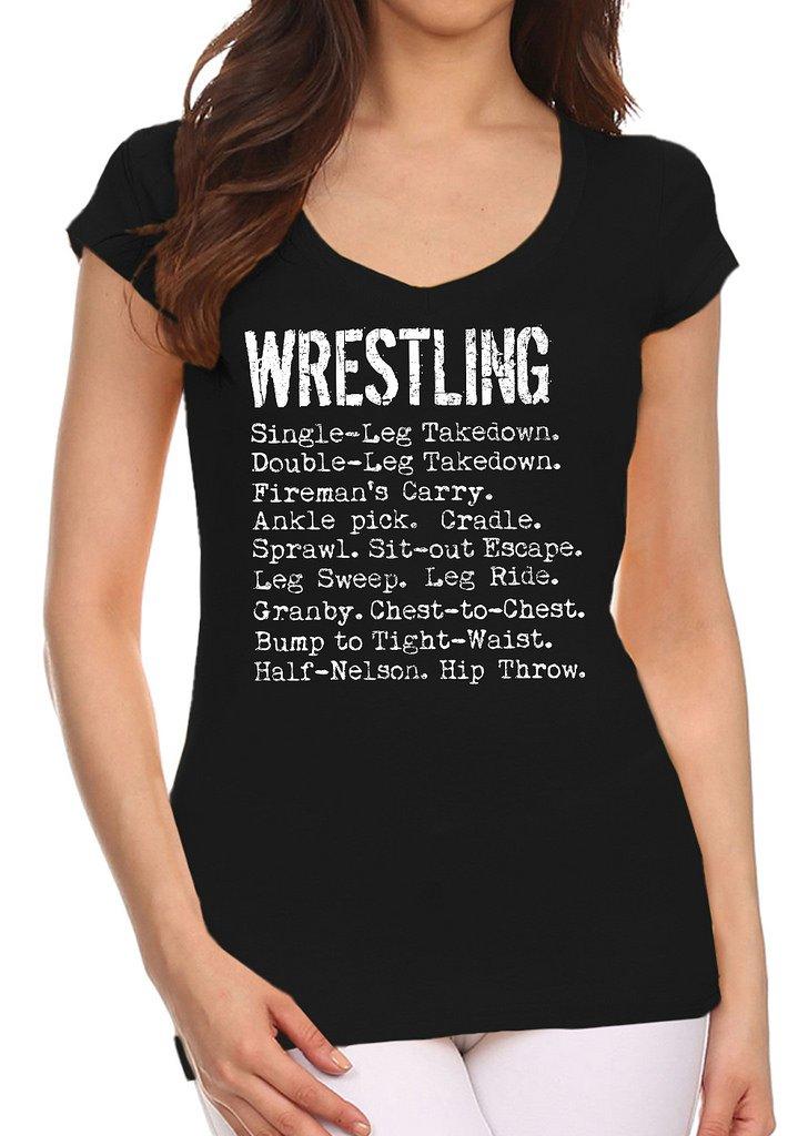 Interstate Apparel Inc Junior's Wrestling Moves Black V-Neck T-Shirt X-Large Black
