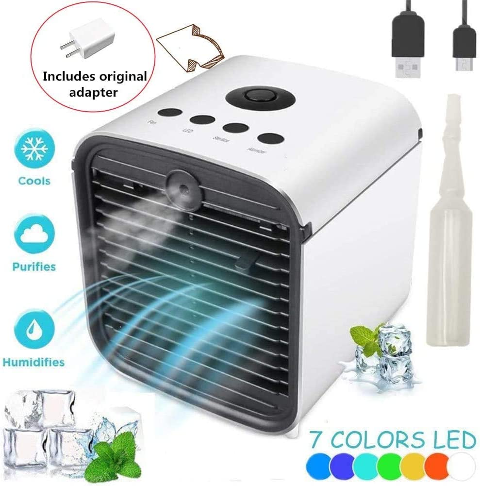 Personal Space Water Fans, Portable Mini Air Conditioner USB Fan, Fans for Personal Desktop Table Fan Nightstand Office Dorm (Upgrade 5 in 1)