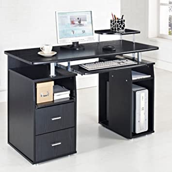 desk with l computer shelf small printer