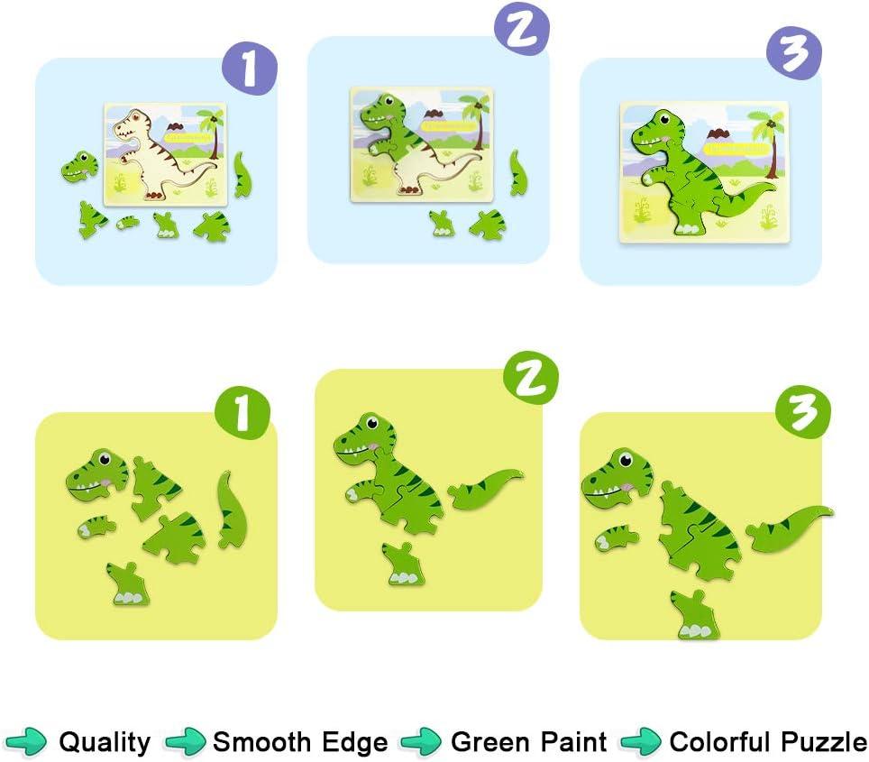 Corythosaurus,Ankylosaurus,Tyrannosaurus,Brachiosaurus Dinosaur Puzzle Educational Toys for 1 2 Year Old Boy Girls 4 Pack Jigsaw Puzzles Set for Toddlers IMMEK Dinosaur Puzzles for 1 2 3 Year Olds