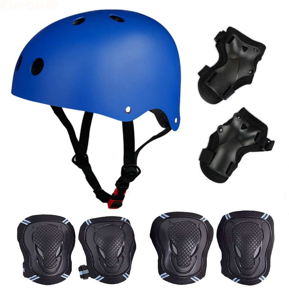 Skateboard / Skate Protection Pads Set with Helmet--SymbolLife Helmet with 6pcs Elbow Knee Wrist Pads for Kids Youths BMX/Scooter/Cycling/Rollerblading For Head M (52-57cm) Blue