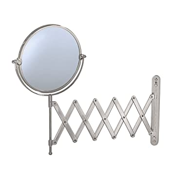 Gatco 1439SN Accordian Arm Wall Mount Mirror, Satin Nickel