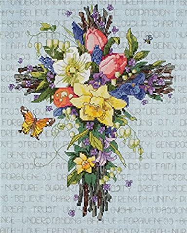 Janlynn Counted Cross Stitch Kit Spring Floral Cross - Floral Counted Cross Stitch
