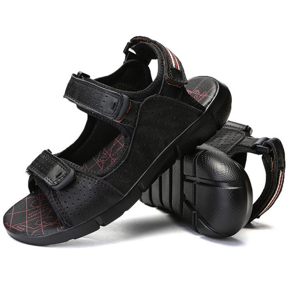Xiaoqin Herren Offene Spitze Casual Leder Breathable Sandale Rutschfeste (Farbe Einstellbare Sommer Strand Sandalen (Farbe Rutschfeste : schwarz, Größe : 43 1/3 EU) schwarz cc0252
