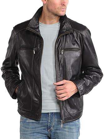 Leather4u KL745 Cazadora de Piel para Hombre, Piel de Cordero, Negro: Amazon.es: Ropa y accesorios