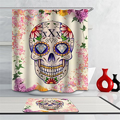 Decorative Skulls (Creative Sugar Skull Design Decorative Shower Curtain Series,72 X 72 inch,Fabric Polyester Bathroom Shower Curtain with 12 Steel Hooks)