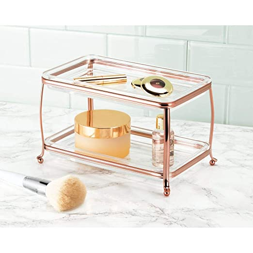 mDesign Decorative Makeup Storage Organizer Vanity Tray for Bathroom Counter Tops, 2 Levels to Hold Makeup Brushes, Eyeshadow Palettes, Lipstick, ...