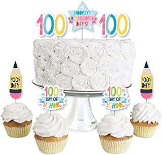 product image for Big Dot of Happiness Happy 100th Day of School - Dessert Cupcake Toppers - 100 Days Party Clear Treat Picks - Set of 24