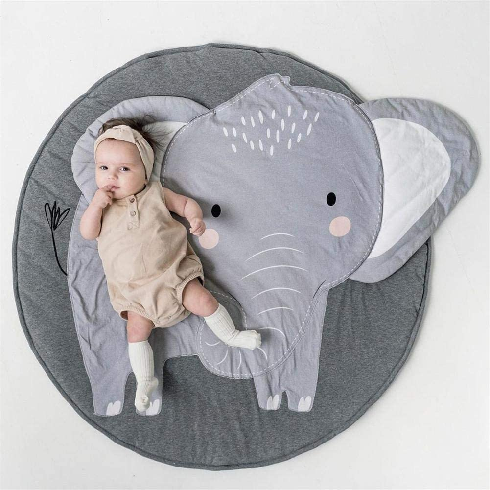 Diameter 37.4in Lovely Childrens Room Decoration Fine Workmanship Wustrious Children Crawling Mat Cute Elephant Print Baby Play Pads Nursery Rugs Game Cushion
