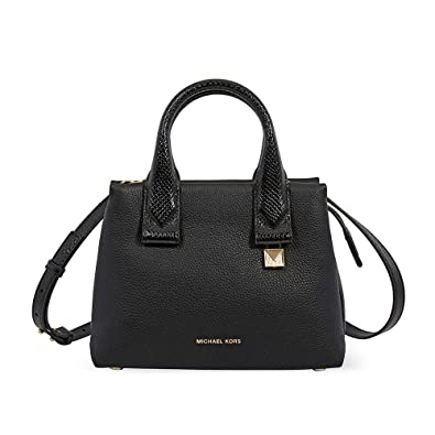 532f64f404c3 Amazon.com  Michael Kors Rollins Small Snake-Embossed Leather Satchel- Black   Shoes