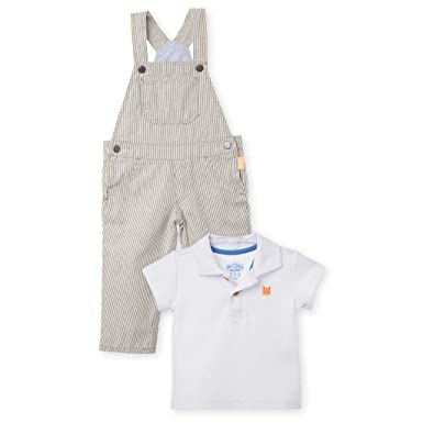 OFFCORSS Baby Boy Kid Bib Pants Overall Colored Cotton Polo Shirt Two Pieces Casual Cutest Easter