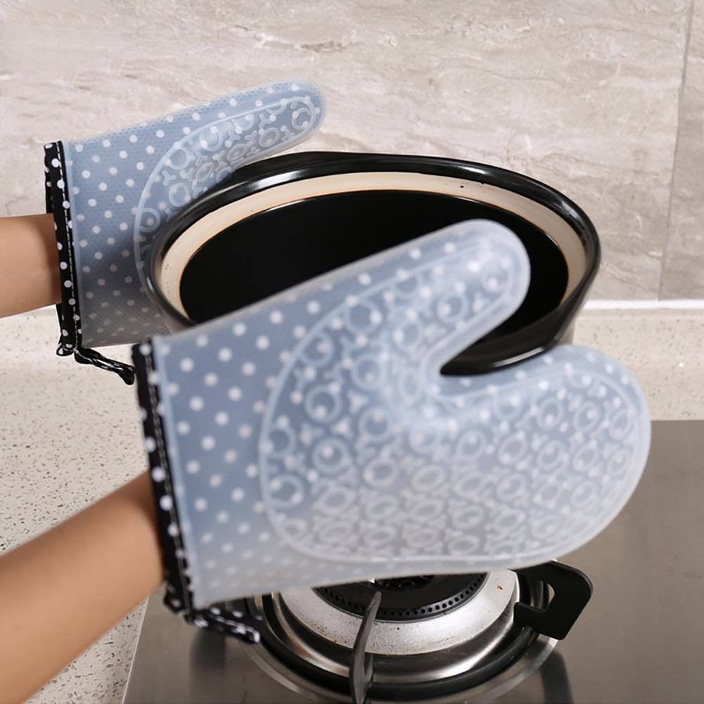 JZDCSCDNS Oven Gloves Anti-hot Non-slip Anti-puncture High Temperature Tear-resistant Kitchen Microwave Oven Baking Thickening Safety Food Grade Silicone Cotton Lining Potholders Gray , 23cm by JZDCSCDNS
