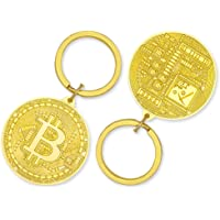Bitcoin Gold Plated Keychain BTC - Bitcoin Token, Crypto Gift Set Collectors, Metal Key Ring with Bitcoin Pendant…