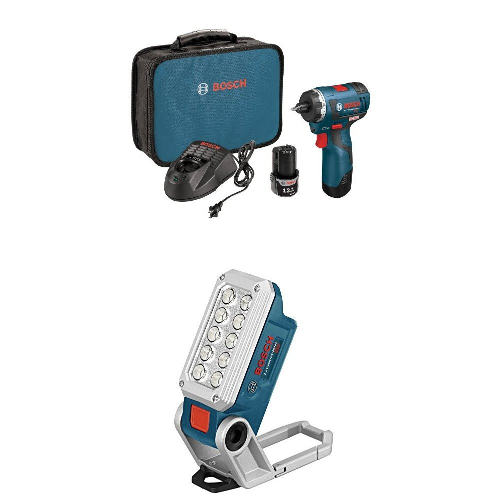 Bosch PS22-02 12-volt Max Brushless Pocket Driver Kit with 2.0Ah Batteries, Charger and Case w/ Work Light